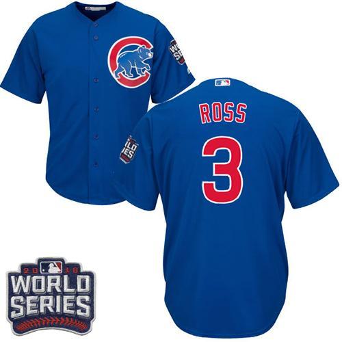 Kid Chicago Cubs 3 David Ross Blue Alternate 2016 World Series Bound MLB Jersey