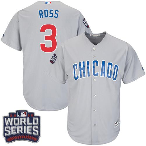 Kid Chicago Cubs 3 David Ross Grey Road 2016 World Series Bound MLB Jersey