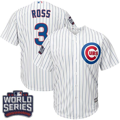 Kid Chicago Cubs 3 David Ross White Home 2016 World Series Bound MLB Jersey