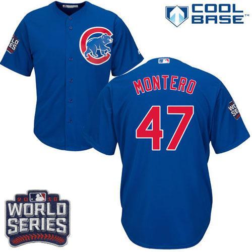 Kid Chicago Cubs 47 Miguel Montero Blue Alternate 2016 World Series Bound MLB Jersey