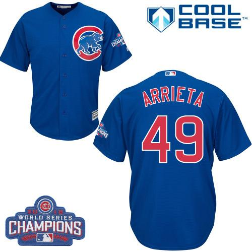Kid Chicago Cubs 49 Jake Arrieta Blue Alternate 2016 World Series Champions MLB Jersey