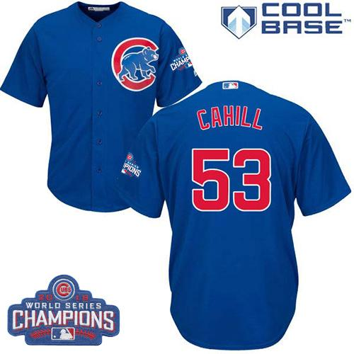 Kid Chicago Cubs 53 Trevor Cahill Blue Alternate 2016 World Series Champions MLB Jersey