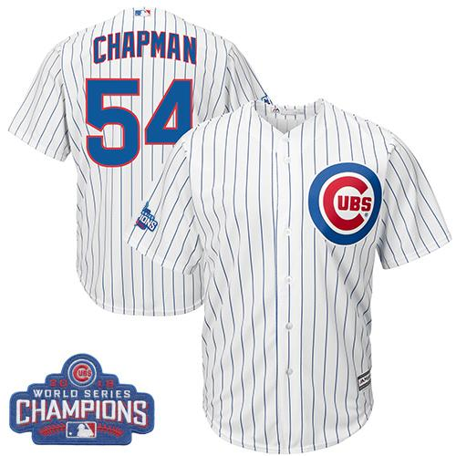 Kid Chicago Cubs 54 Aroldis Chapman White Home 2016 World Series Champions MLB Jersey