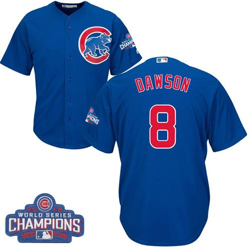 Kid Chicago Cubs 8 Andre Dawson Blue Alternate 2016 World Series Champions MLB Jersey