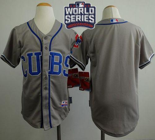 Kid Chicago Cubs Blank Grey Alternate Road Cool Base 2016 World Series Bound MLB Jersey
