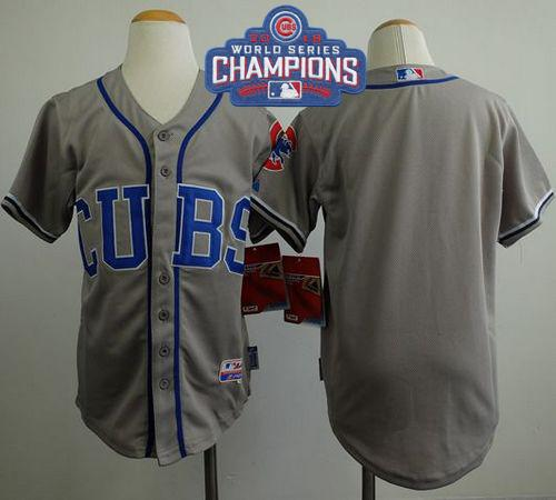 Kid Chicago Cubs Blank Grey Alternate Road Cool Base 2016 World Series Champions MLB Jersey