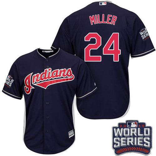 Kid Cleveland Indians 24 Andrew Miller Navy Blue Alternate 2016 World Series Bound MLB Jersey