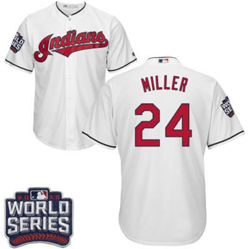 Kid Cleveland Indians 24 Andrew Miller White Home 2016 World Series Bound MLB Jersey
