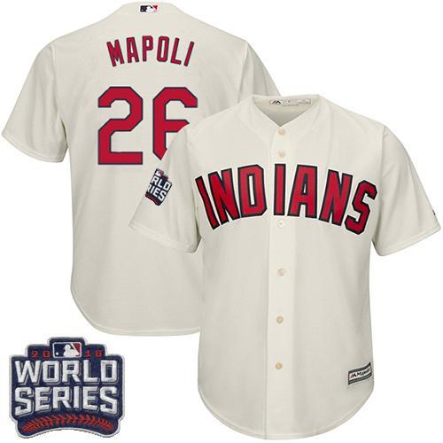 Kid Cleveland Indians 26 Mike Napoli Cream Alternate 2016 World Series Bound MLB Jersey
