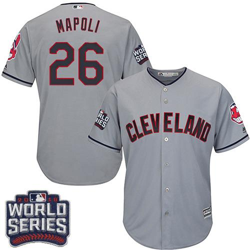 Kid Cleveland Indians 26 Mike Napoli Grey Road 2016 World Series Bound MLB Jersey