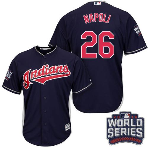 Kid Cleveland Indians 26 Mike Napoli Navy Blue Alternate 2016 World Series Bound MLB Jersey