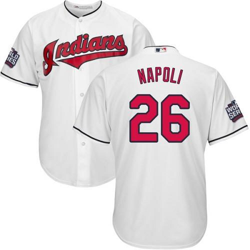 Kid Cleveland Indians 26 Mike Napoli White Home 2016 World Series Bound MLB Jersey