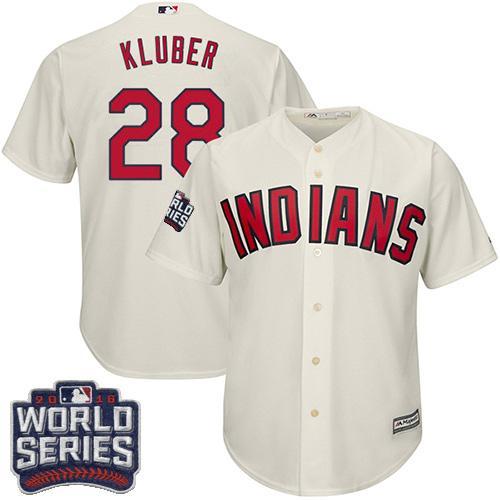 Kid Cleveland Indians 28 Corey Kluber Cream Alternate 2016 World Series Bound MLB Jersey