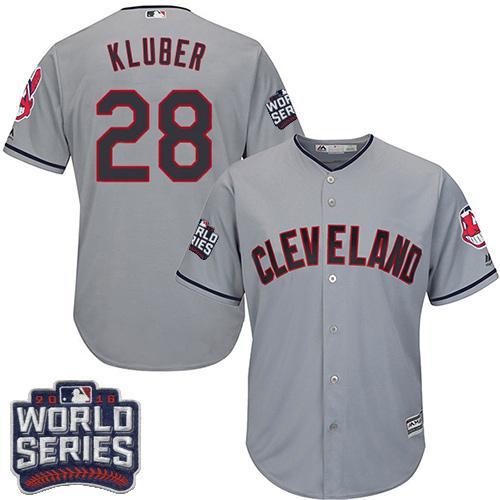 Kid Cleveland Indians 28 Corey Kluber Grey Road 2016 World Series Bound MLB Jersey
