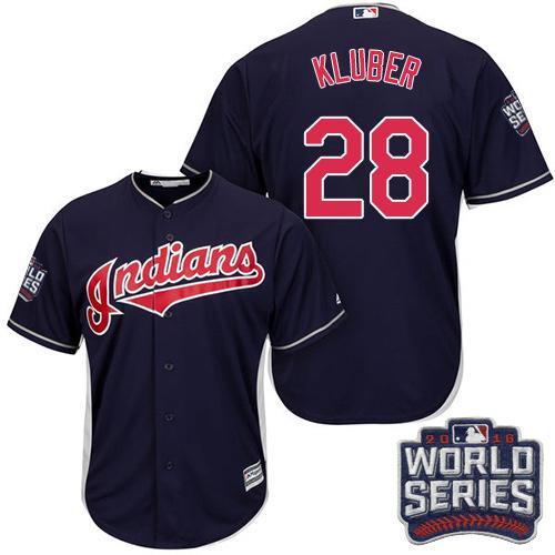 Kid Cleveland Indians 28 Corey Kluber Navy Blue Alternate 2016 World Series Bound MLB Jersey