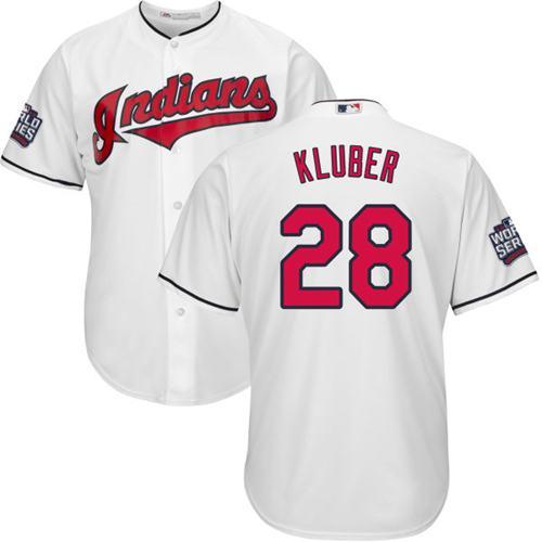 Kid Cleveland Indians 28 Corey Kluber White Home 2016 World Series Bound MLB Jersey