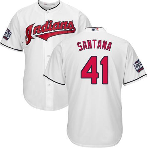 Kid Cleveland Indians 41 Carlos Santana White Home 2016 World Series Bound MLB Jersey