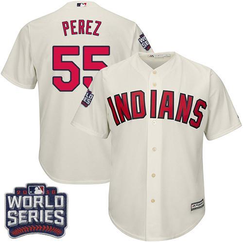 Kid Cleveland Indians 55 Roberto Perez Cream Alternate 2016 World Series Bound MLB Jersey