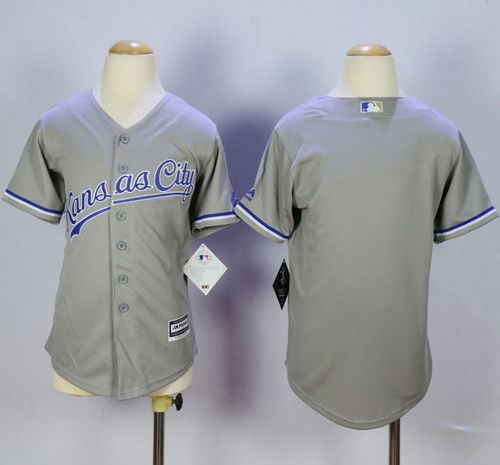 Kid Kansas City Royals Blank Grey Cool Base MLB Jersey