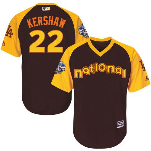 Kid Los Angeles Dodgers 22 Clayton Kershaw Brown 2016 All-Star National League Baseball Jersey