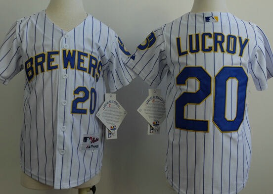 Kid Milwaukee Brewers 20 Lucroy White Blue Strip MLB Jerseys
