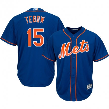Kid New York Mets 15 Tim Tebow Blue Cool Base Player Jersey