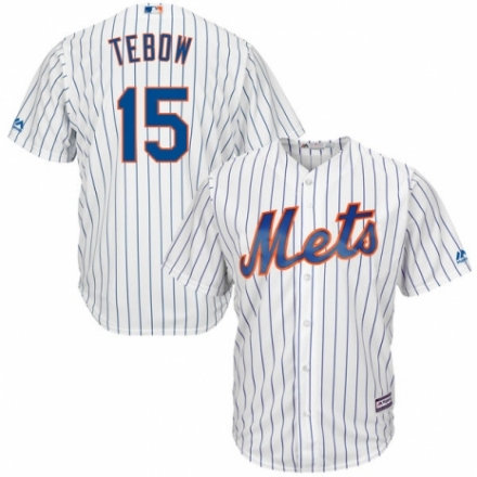 Kid New York Mets 15 Tim Tebow White Home Cool Base Player Jersey