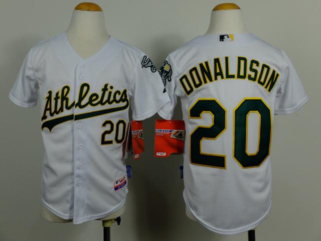 Kid Oakland Athletics 20 Josh Donaldson white Cool Base Jersey 2014 New Style