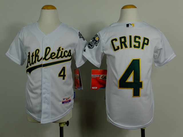 Kid Oakland Athletics 4 Coco Crisp white Cool Base Jersey