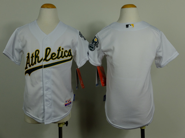 Kid Oakland Athletics Blank white Cool Base Jersey