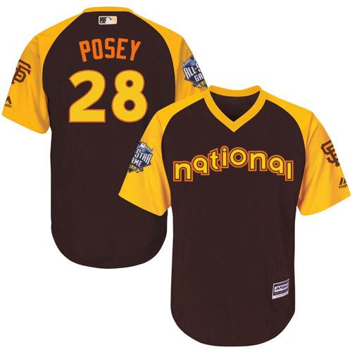 Kid San Francisco Giants 28 Buster Posey Brown 2016 All-Star National League Baseball Jersey