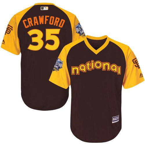 Kid San Francisco Giants 35 Brandon Crawford Brown 2016 All-Star National League Baseball Jersey