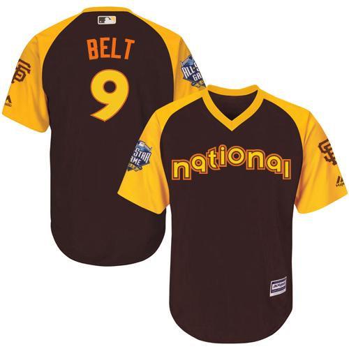 Kid San Francisco Giants 9 Brandon Belt Brown 2016 All-Star National League Baseball Jersey