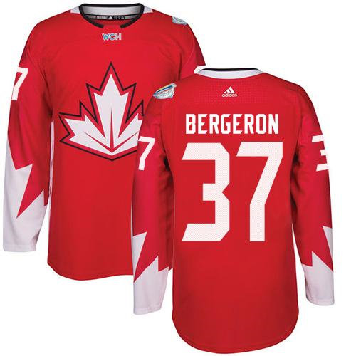 Kid Team Canada 37 Patrice Bergeron Red 2016 World Cup NHL Jersey