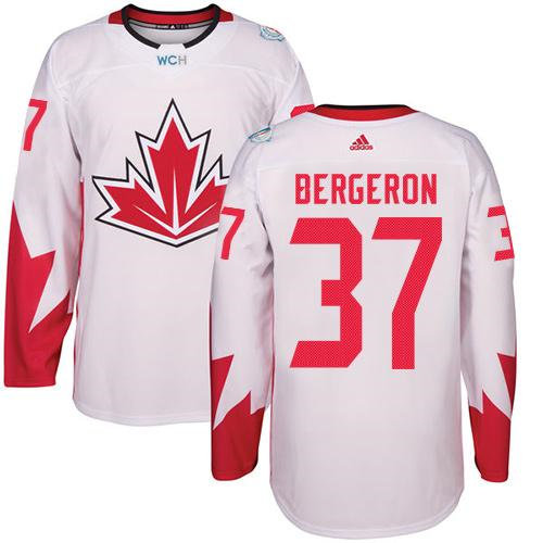 Kid Team Canada 37 Patrice Bergeron White 2016 World Cup NHL Jersey