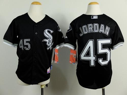 Kids Chicago White Sox 45 Michael Jordan Black Cool Base Baseball Jersey