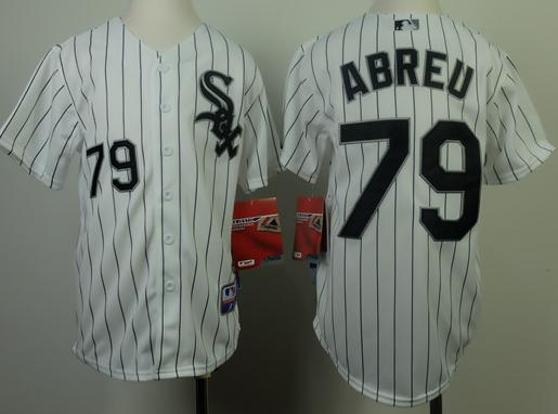 Kids Chicago White Sox 79 Jose Abreu White Black Strip MLB Jerseys