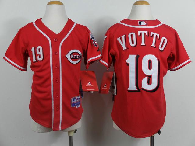 Kids Cincinnati Reds 19 Votto Red baseball jerseys
