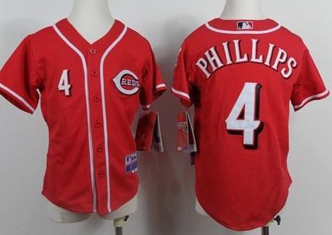 Kids Cincinnati Reds 4 Brandon Phillips Red MLB Jerseys