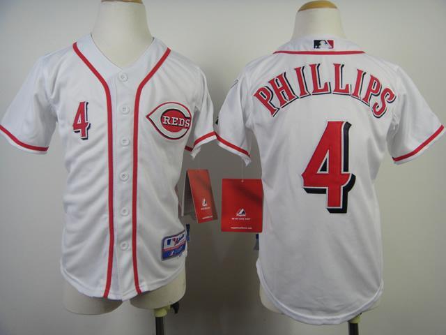 Kids Cincinnati Reds 4 Brandon Phillips White MLB Jerseys