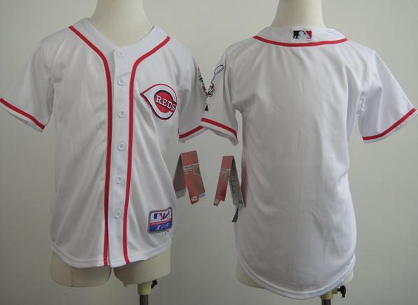 Kids Cincinnati Reds Blank White MLB Jerseys