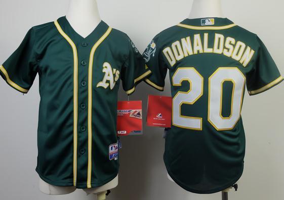 Kids Oakland Athletics 20 Josh Donaldson Green Cool Base Jersey 2014 New Style