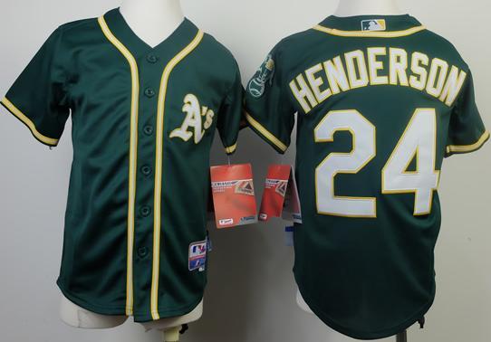 Kids Oakland Athletics 24 Ricky Henderson Green Cool Base MLB Jersey 2014 New Style