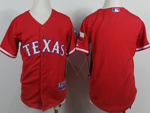 Kids Texas Rangers Blank Red Cool Base MLB Jersey
