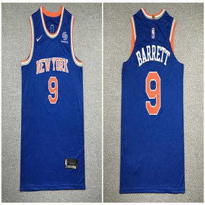 Knicks 9 R.J. Barrett Blue Nike Authentic Jersey