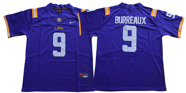 LSU Tigers 9 Joe Burreaux Purple Nike College Football Jersey