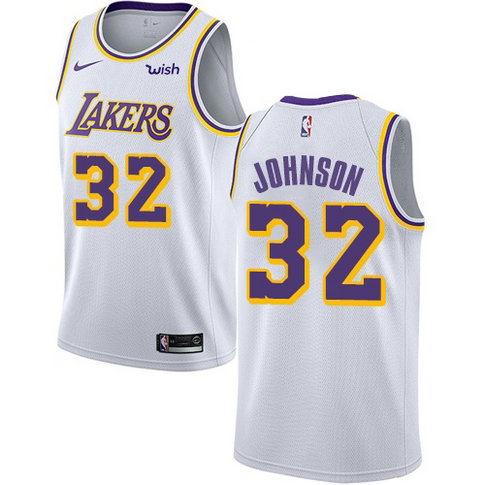 Lakers #32 Magic Johnson White Basketball Swingman Association Edition Jersey