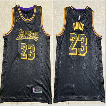 Lakers 23 Anthony Davis Black City Edition Nike Swingman Jersey