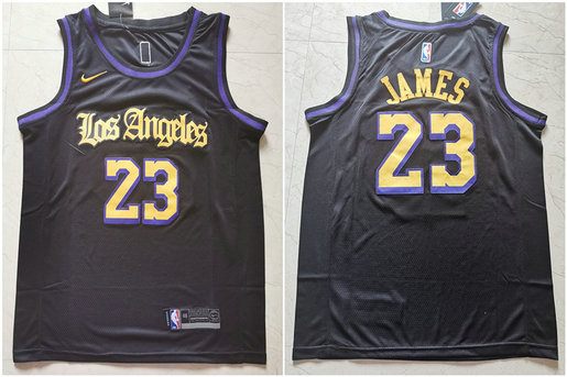 Lakers 23 Lebron James Black City Edition Nike Swingman Jersey