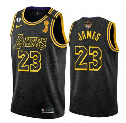Lakers 23 Lebron James Black Mamba 2 Heart Gigi Patch 2020 NBA Finals Champions Nike Swingman Jersey